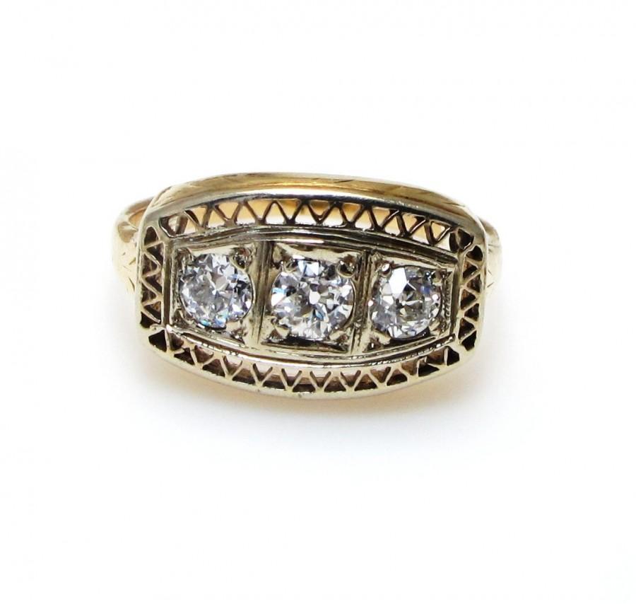 Mariage - Edwardian 14k Yellow Gold Three Diamond Ring - Old European Cut - Engagement - Promise Ring - Size 5 - Weight 3.1 Grams # 4187