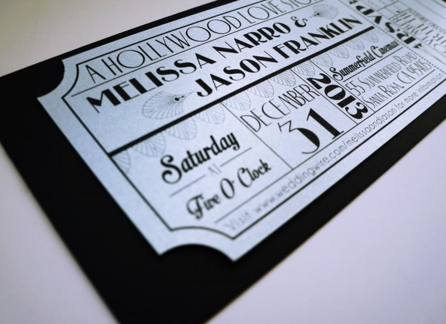 old hollywood art deco silver movie ticket wedding invitation - Movie Ticket Wedding Invitations