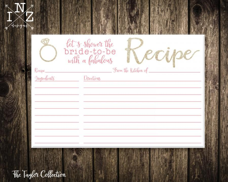 Wedding - Printable Recipe Card - Gold Glitter Recipe Card