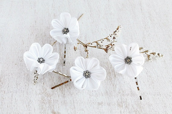 زفاف - White Bridal Hair Pins, Small Wedding Clips, Kanzashi Hair Pins, Bridesmaid Flowers, Flower Bobby Pins, Bridal Hair Pins, Wedding Bobby Pins