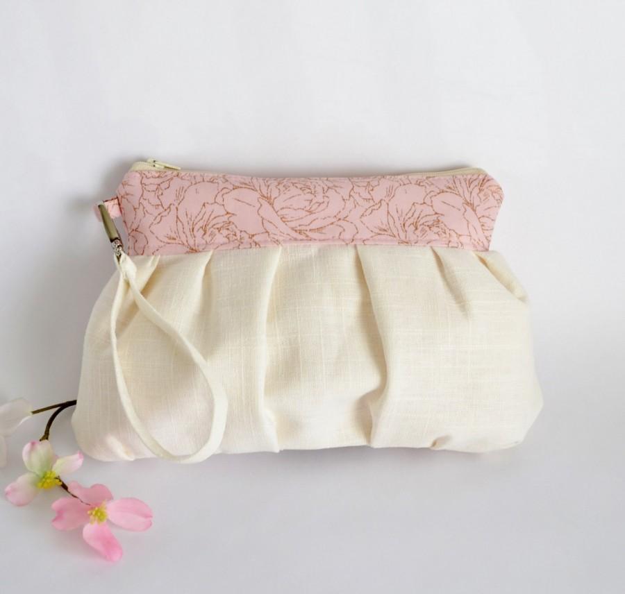 زفاف - Pleated Wristlet Pouch Clutch Stripe Ivory Pastel Pink Floral Bridesmaid Gift Linen Cotton