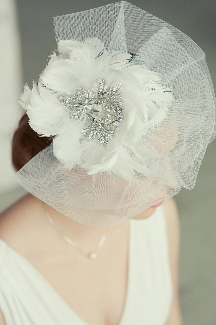 Hochzeit - Royal crystal and feather fascinator.  Vintage style bridal veil. Huge exquisite wedding fascinator. White feather and crystal fascinator