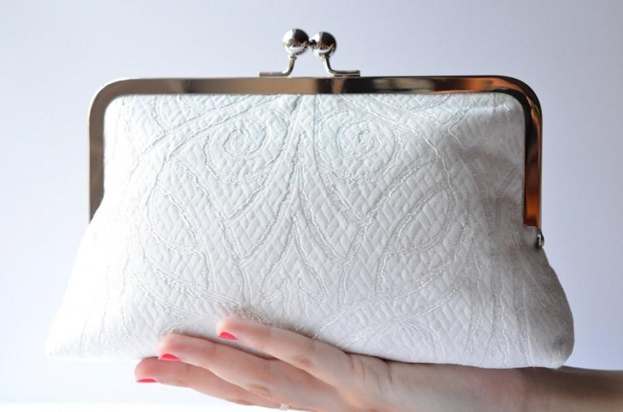 Bridal White Formal Clutch Bag Silk Lined Purse Accessory Wedding Day Bridesmaid Gift