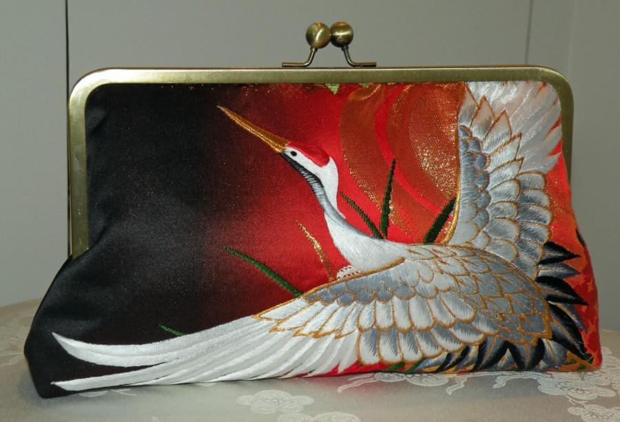 زفاف - 10inch Wedding/Bridal Silk Kimono Bag/Purse/Clutch.Long Island Bride Gift Embroidered Cranes Theme/Red/Gold/Black..Cherry Blossom/Wrap/Shawl