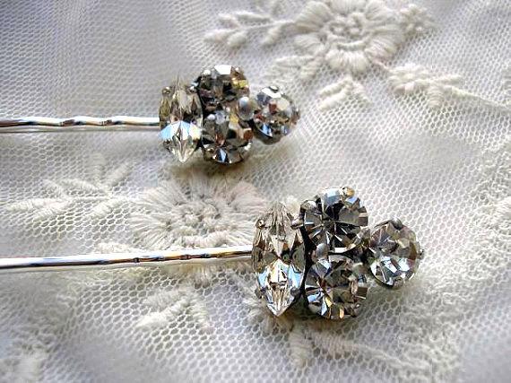 زفاف - BRIDAL hairpin Aurora vintage style  wedding hair  ACCESSORIES Rhinestone set of 2