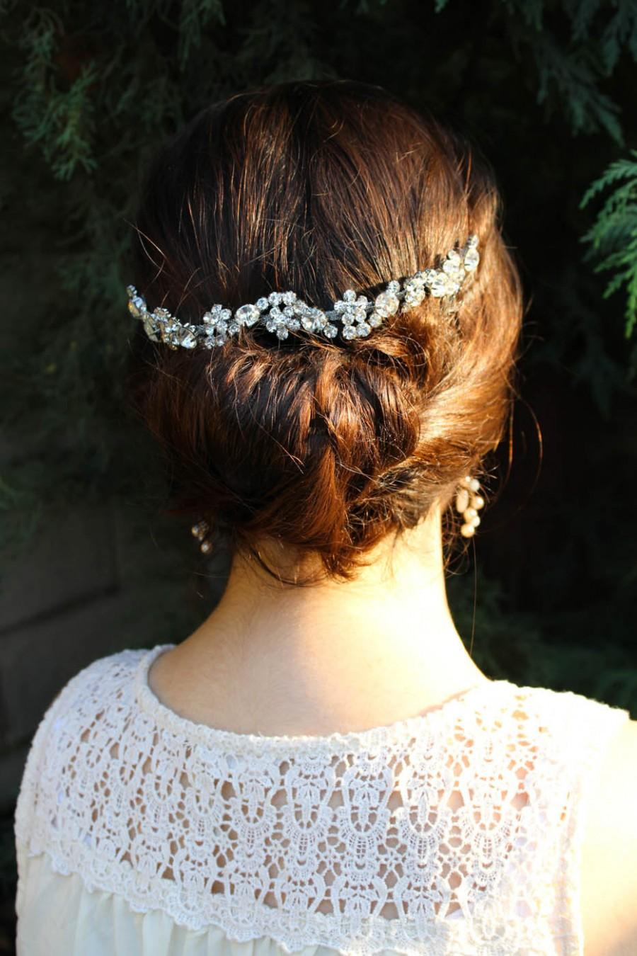 زفاف - Wedding Hair Chain, Bridal Hair Chain, Wedding Hair Wrap Downton Headpiece, Silver Wedding Halo Crystal Hair Comb, Wedding Hair Comb Vine