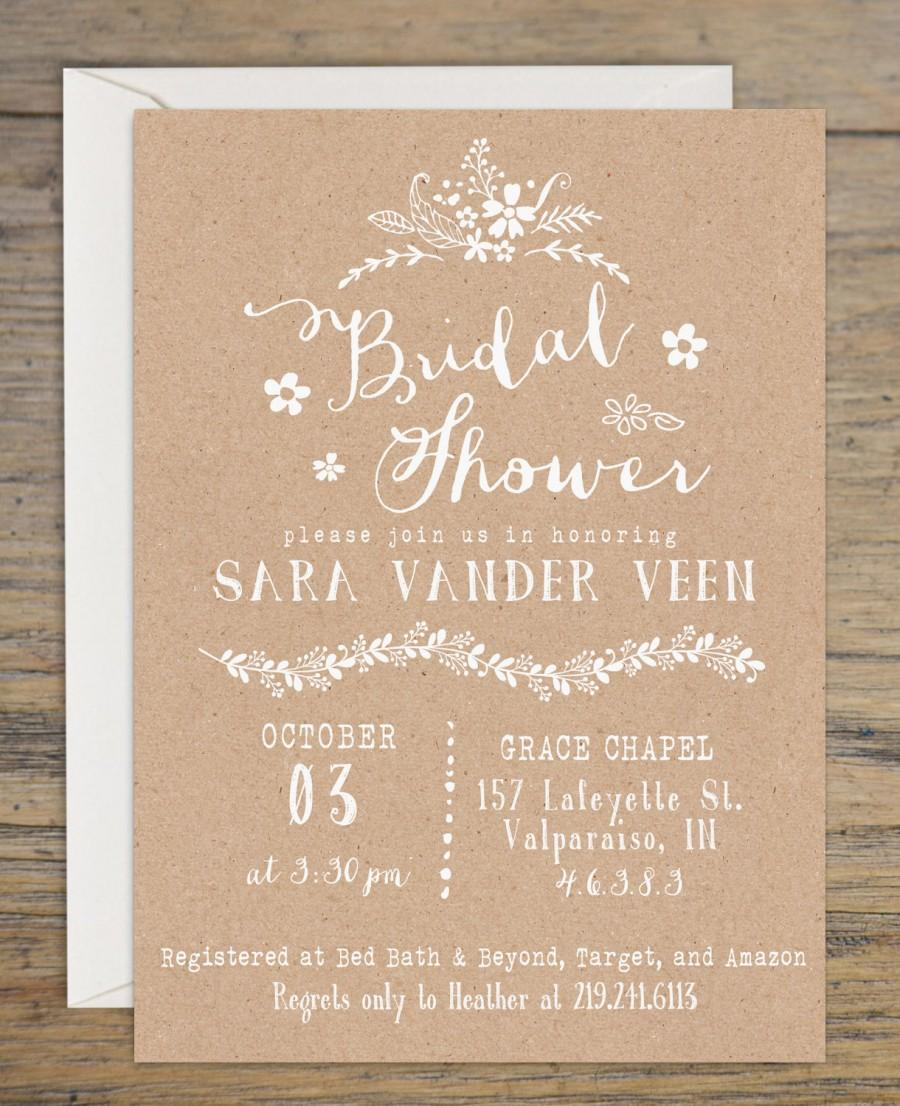 kraft bridal shower invitation bridal shower invitations wedding shower invitation rustic themed bridal shower printable invitation