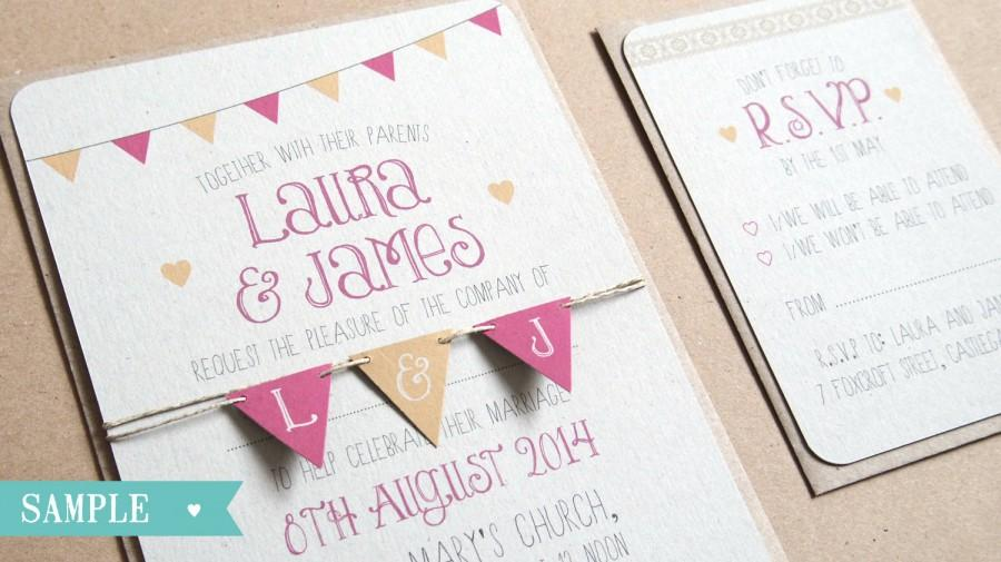 Bunting Wedding Invite: Cute Bunting Wedding Invitation SAMPLE