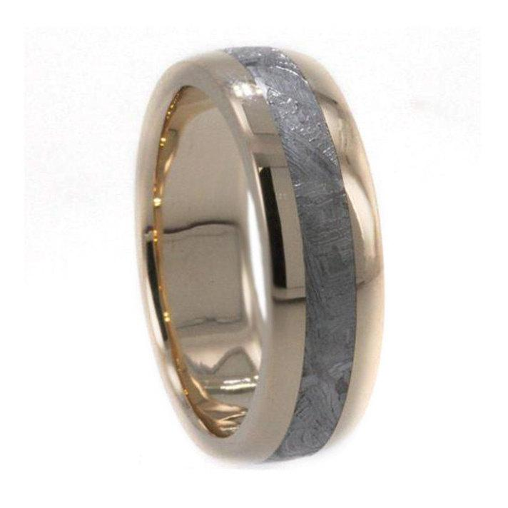 Wedding Bands For Men And Women 18k Yellow Gold Ring Inlaid With Gibeon Meteorite His Hers Rings