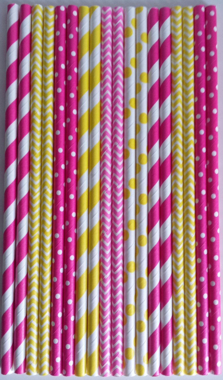 Wedding - 50 Pink Lemonade Paper Straws Birthday Party, Lemonade Stand, Pink Yellow Stripe Chevron Dots Straws, Mason Jars Straws, Baby Shower Straws