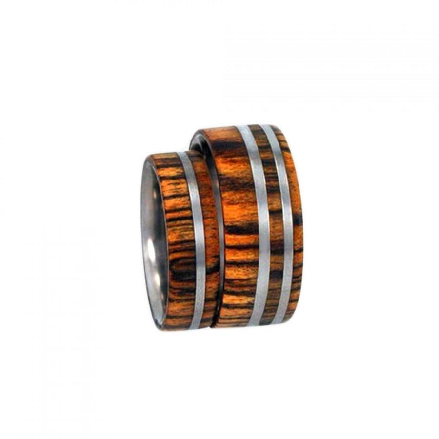 زفاف - Bocote Wood inlaid in Titanium Wedding Ring - Single Ring, Ring Armor Included