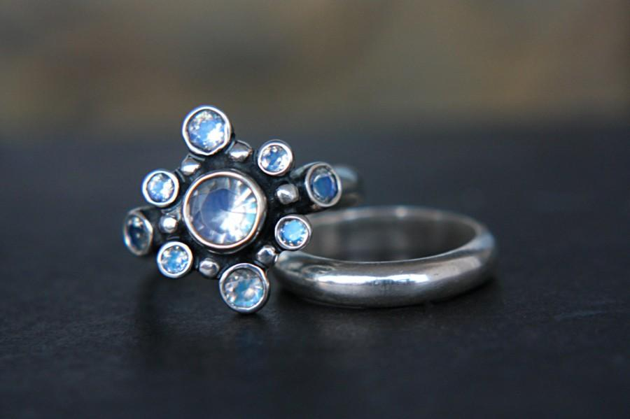 Wedding - Rainbow Moonstone Wedding Ring Set  Moonstone Alternative Engagement Ring Art Deco Wedding Set June Birthstone