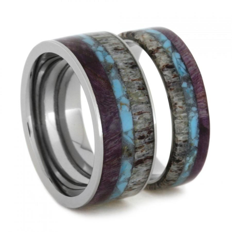 unique ring set titanium wedding bands set with turquoise antler and purple box elder burl inlays couples rings - Titanium Wedding Ring Sets