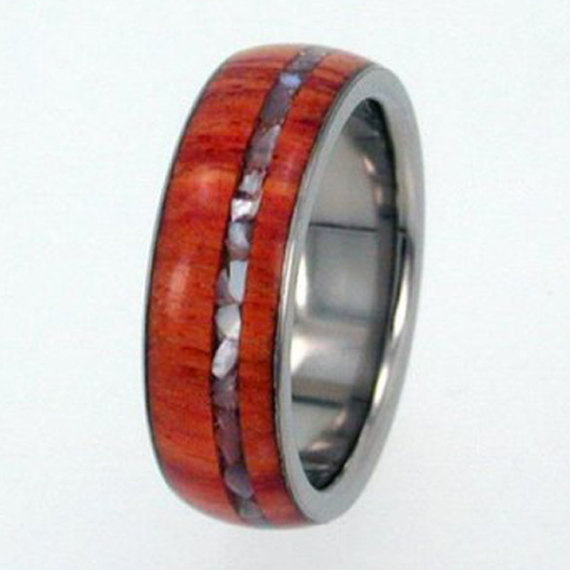 Свадьба - Titanium Ring, Tulip Wood Band, Mother of Pearl Pinstripe, Ring Armor Included