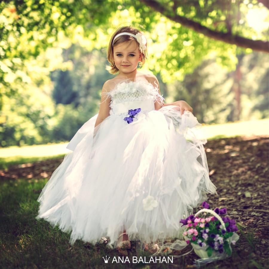 955ec911d Flower girl dress WHITE, Vintage flower girl tutu dress, Custom white  flower girl, Fairy Tutu dress, Birthday girl dress, Princess Dress
