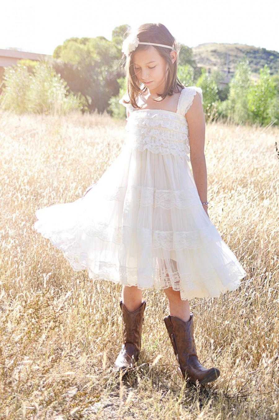 Ivory Flower Girl Dress Ivory Lace Baby Doll Dress Rustic