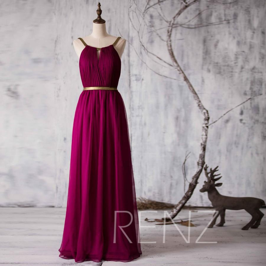 2017 Long Bridesmaid Dress Red Wine Wedding Chiffon Formal Backless Maxi Gold Belt Prom Floor Length F066e
