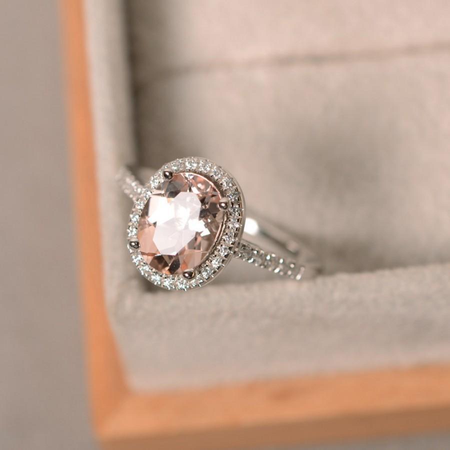 Свадьба - Natural morganite ring, sterling silver, pink gemstone morganite, halo ring, engagement ring
