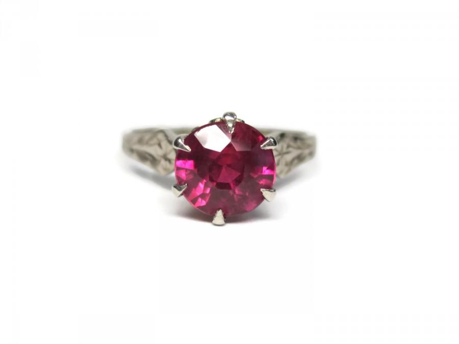 Wedding - Vintage 14K Ruby Engagement Ring White Gold Solitaire 1.5 Carat Size 6