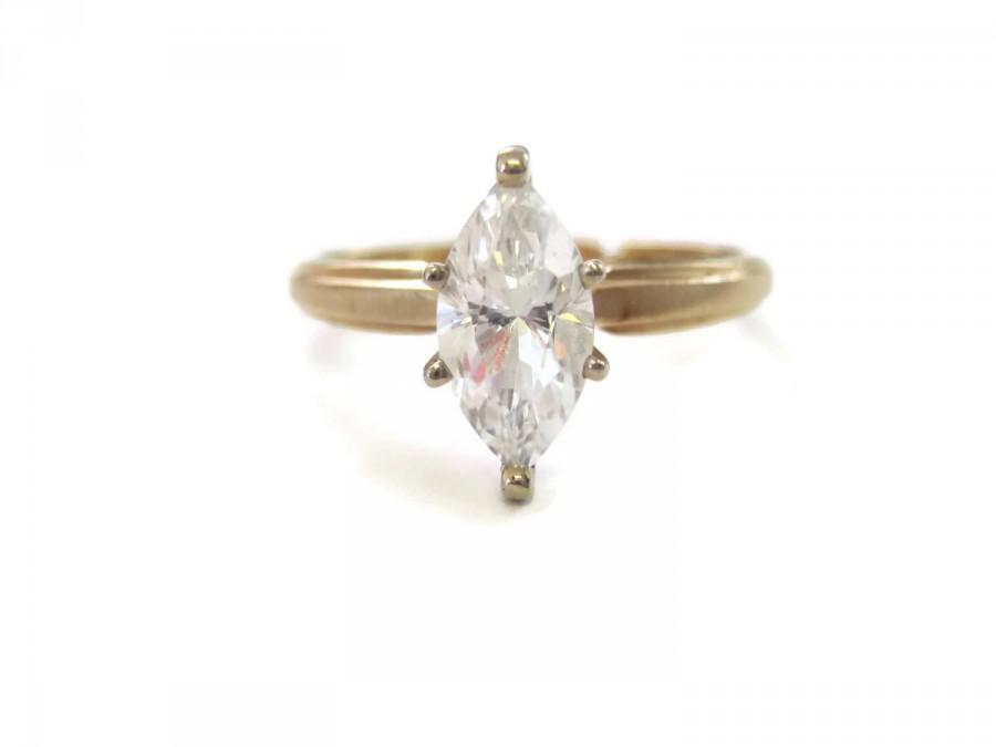 Свадьба - Vintage 14K 2 Carat Marquise Cubic Zirconia Engagement Ring Sz 8