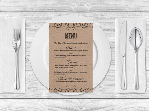 kraft paper wedding menu template rustic swirls printable wedding