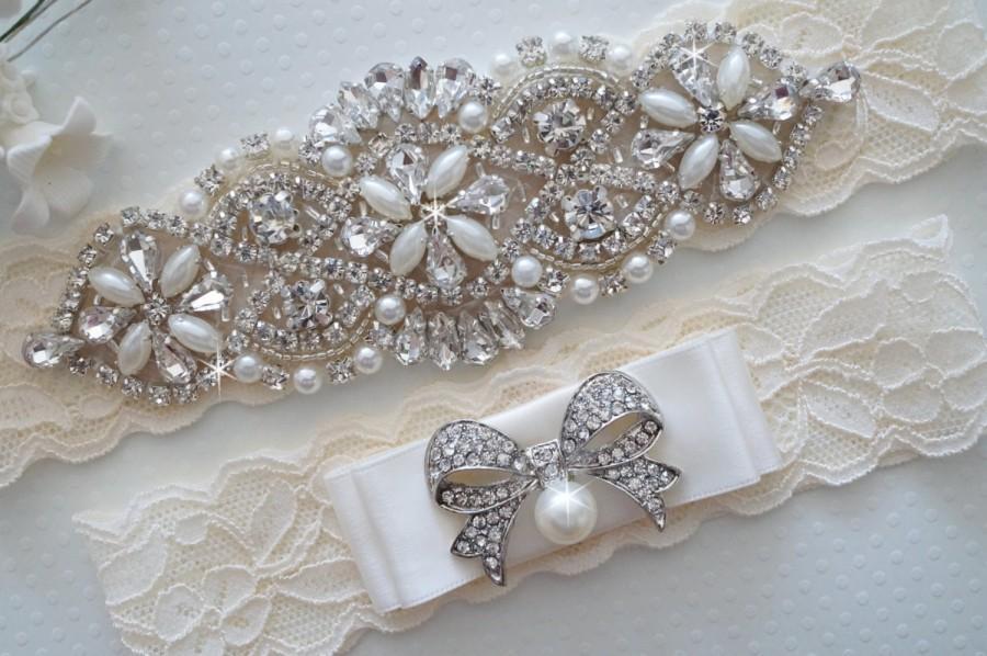 Hochzeit - MIA Style A - Bridal Garter, Wedding Garter Set, Stretch Lace Garter, Rhinestone Crystal Bridal Garter