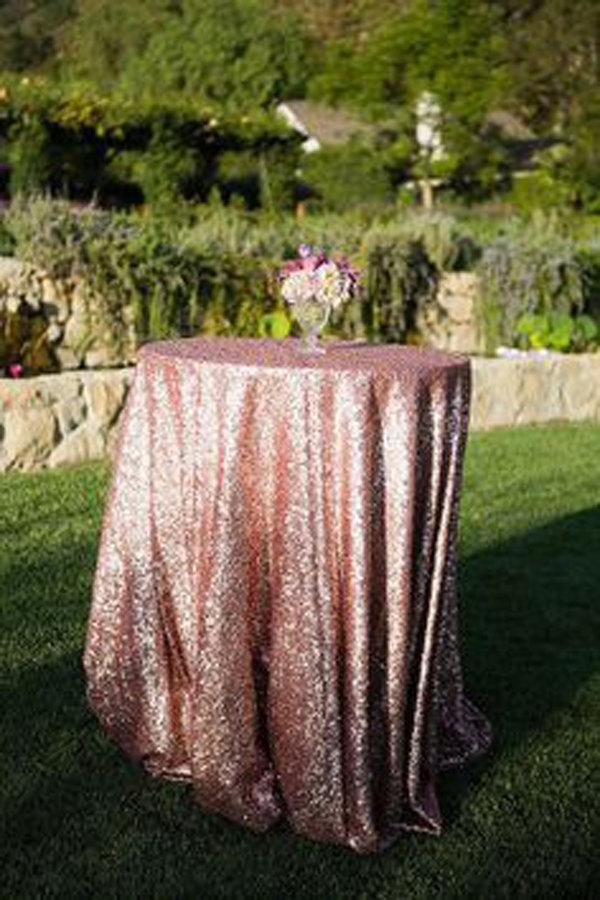Mariage - CHOOSE YOUR COLOR! Rose Gold pink Tablecloths for vintage Weddings and Events! Custom size sparkle sequin table cloths, overlays and linens