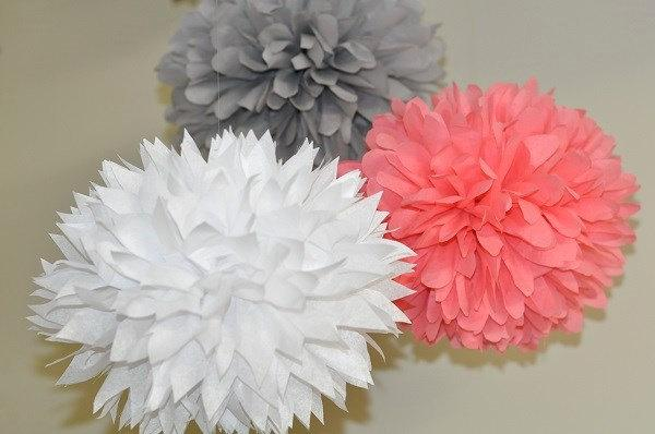 3 Poms White Gray And Coral Bridal Shower Bachelorette Party