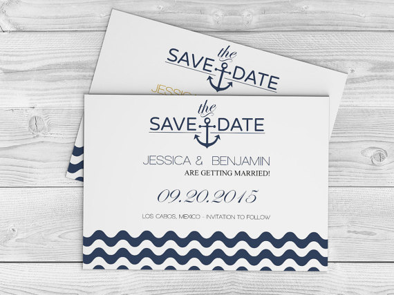 Nautical wedding save the date template navy anchor wave for Free electronic save the date templates