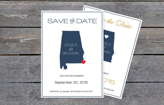 Mariage - Alabama Save the Date Templates - Alabama Navy State Map Save the Date Printable Editable PDF Template - Instant Download - DIY You Print