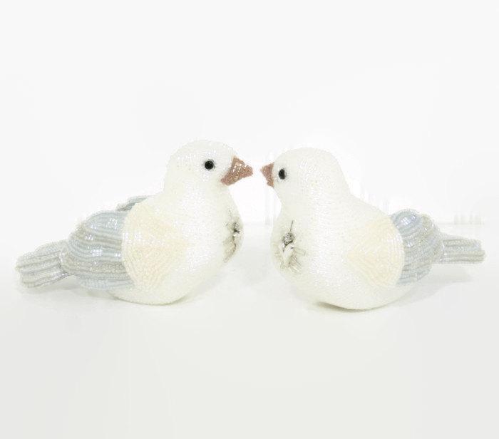 Mariage - Dove Birds Wedding Cake Topper Beaded Love Bird Couple Winter Wedding MADE TO ORDER