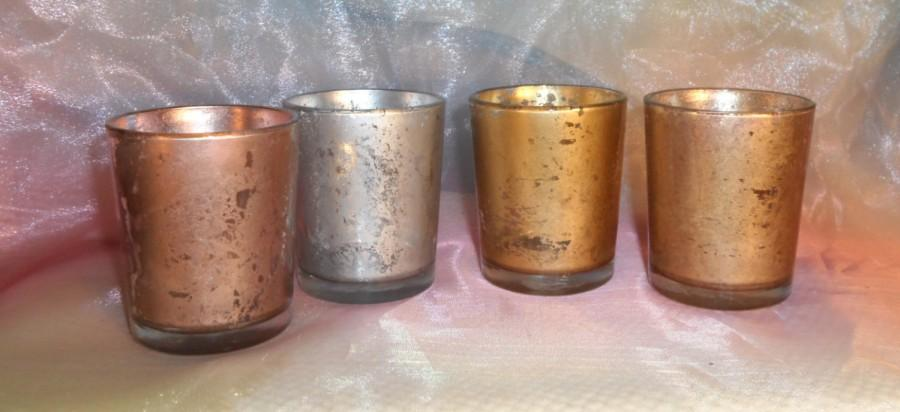Wedding - 12 Rose Gold Mercury Glass Votive Candle Holders /  parties /  weddings votives centerpieces / gift /