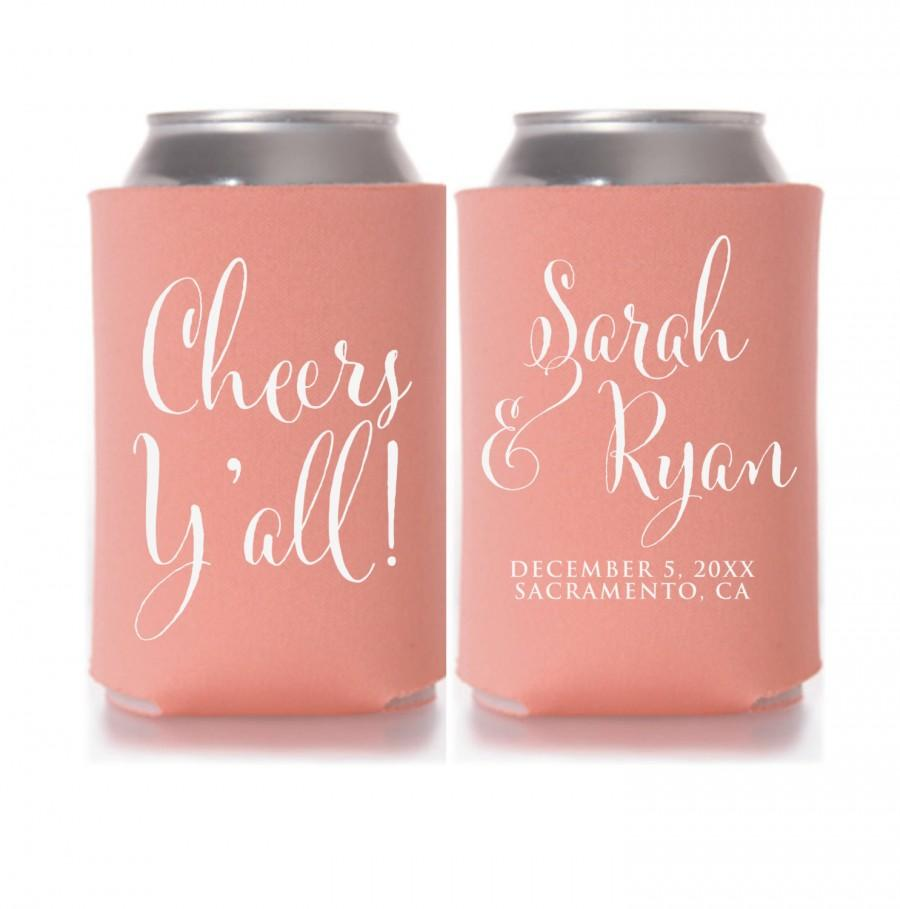 Wedding Koozies, Cheers Y\'all, Personalized Can Coolers, Wedding ...