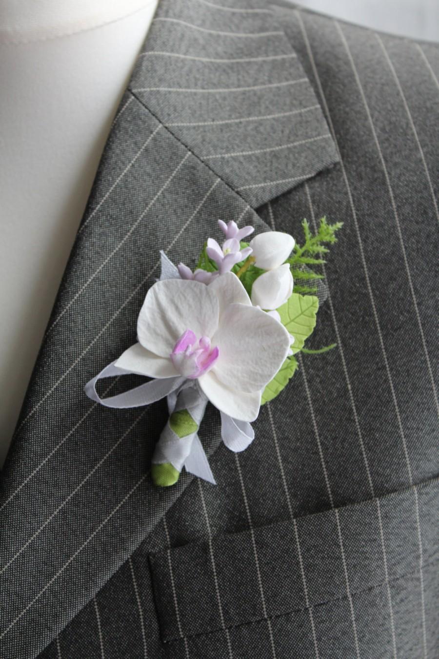 زفاف - Weddings. Buttonhole Boutonniere for men. Polymer clay flower.