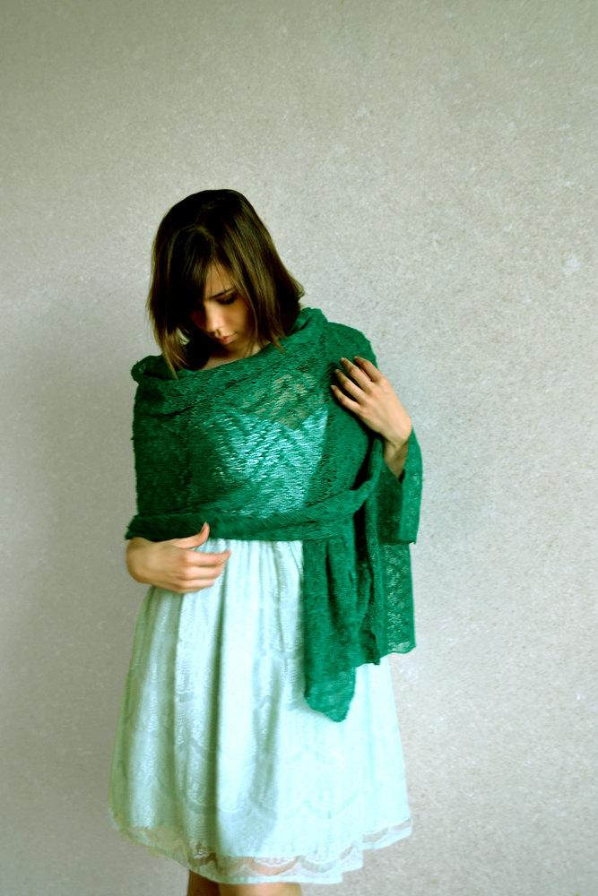 Hochzeit - Emerald Linen Shawl Ultramarine Green Scarf  Green Shawl Gauzy Wrap Lace Stole Knitted Scarf Bridesmaids Stoles