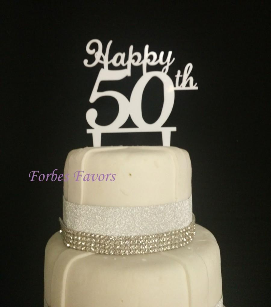 Happy 50th Birthday Acrylic Cake Topper Wedding Many Colors