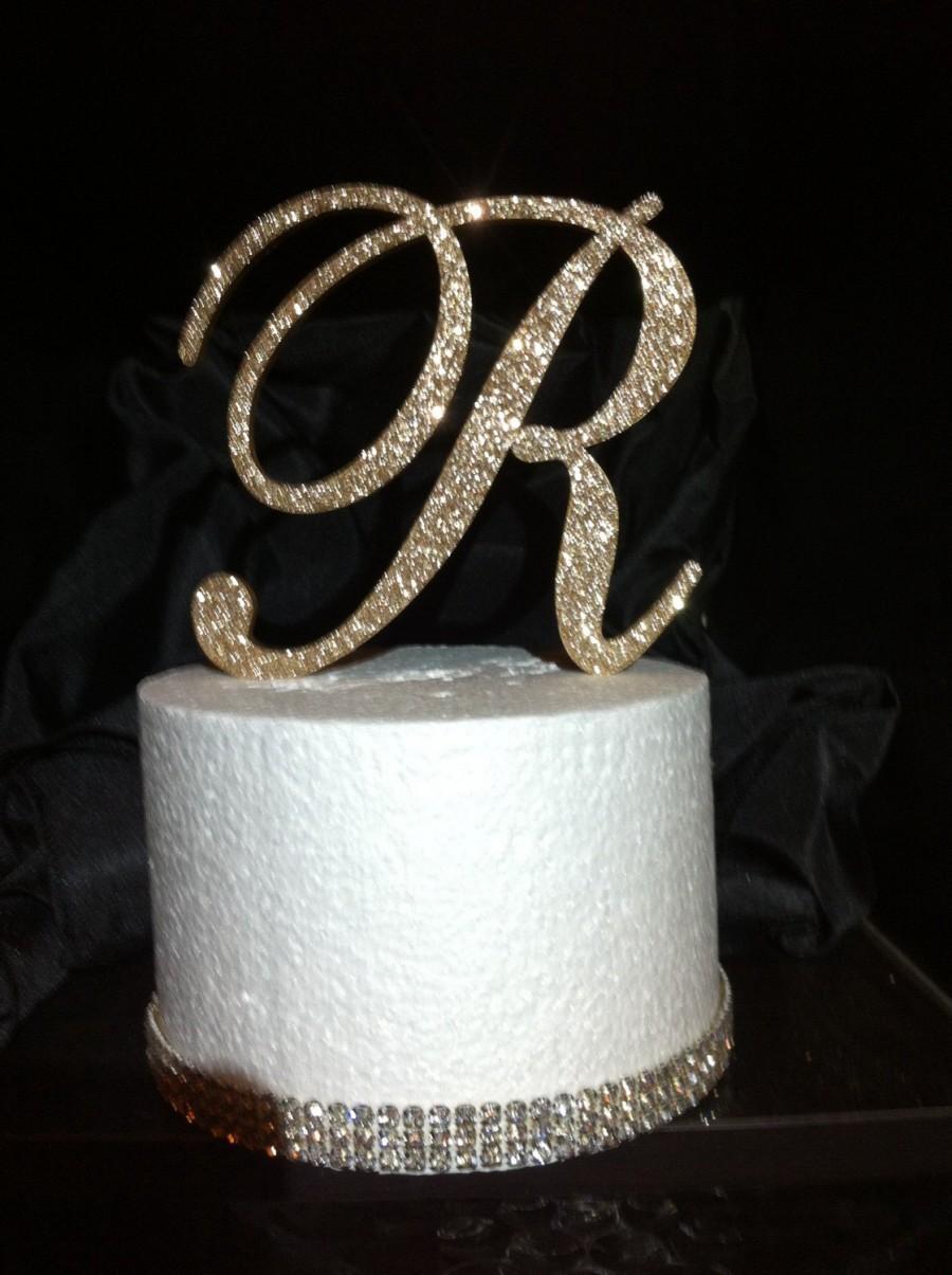Glitter Cake Topper Monogram Cake Topper Cake Topper Wedding