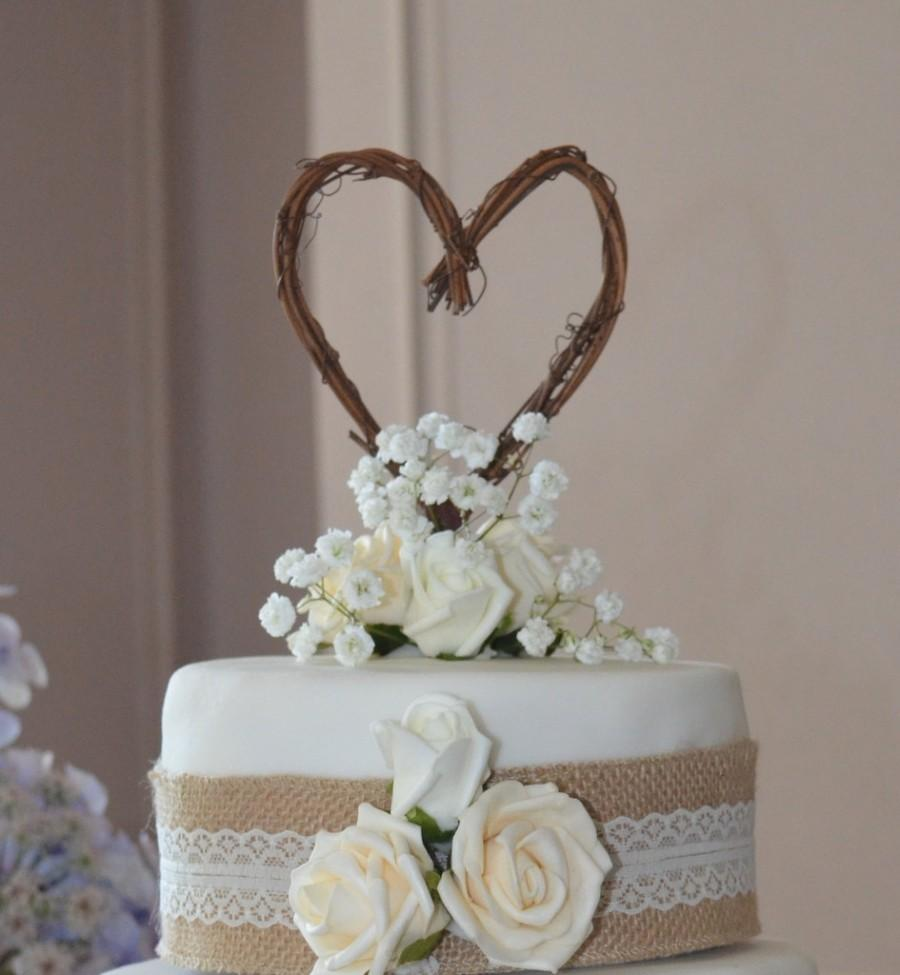 Hochzeit - Engagement Party, Fall Wedding Decor, Rustic Heart Cake Topper