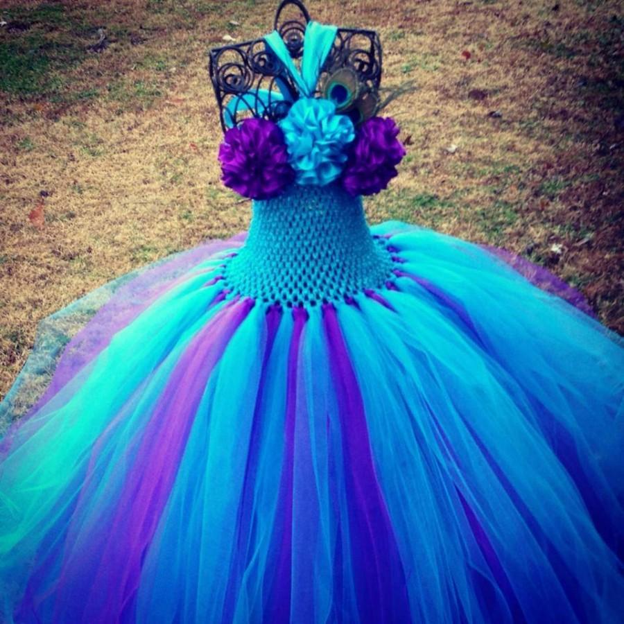 Peacock Colored Flower Girl Dresses