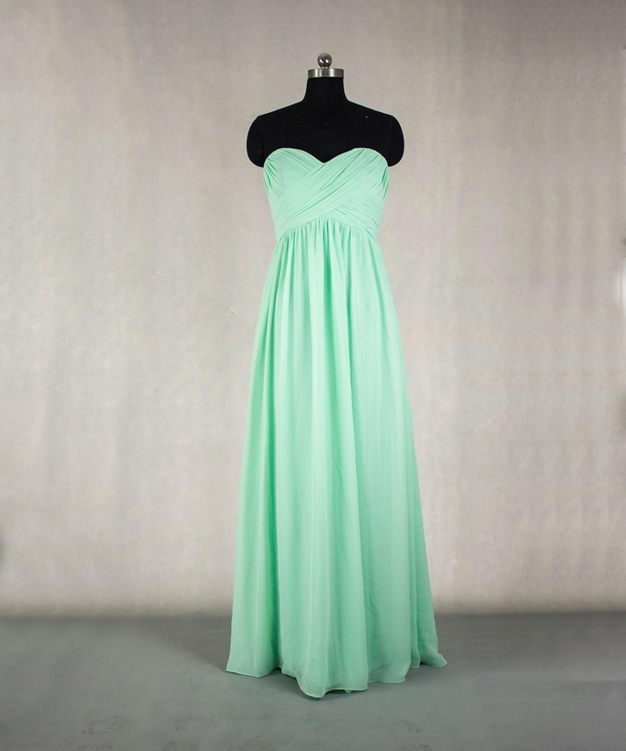 Mariage - Long MInt Bridesmaid Dress A-line Sweetheart Chiffon Bridesmaid Dress Prom dress