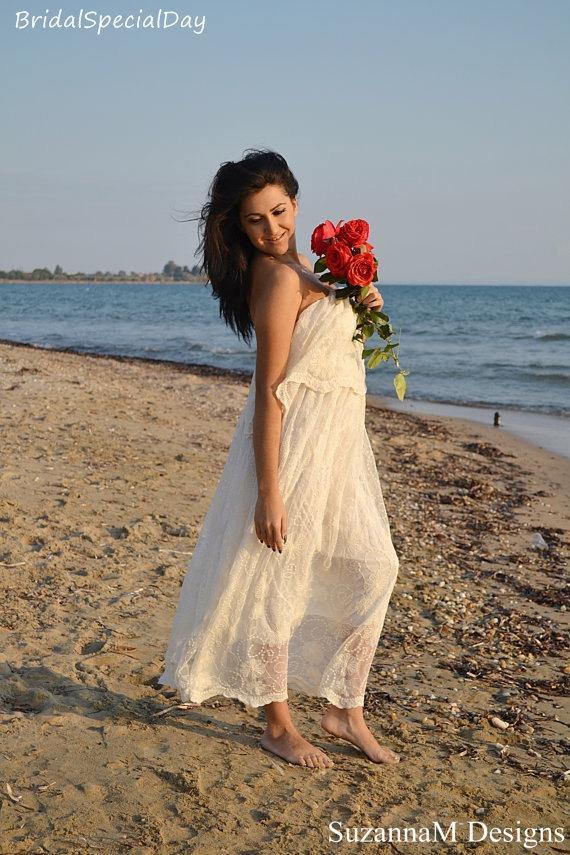 Boho Wedding Dress Cotton Lace Wedding Dress Ivory 70s Wedding