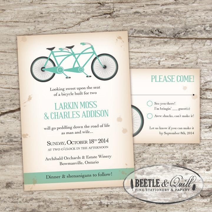 Bicycle Built For Two Printable Wedding Invitation Set 2457689
