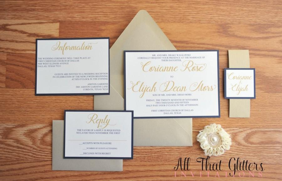 Invitation Navy And Gold Wedding Invitation Suite 2457691 Weddbook