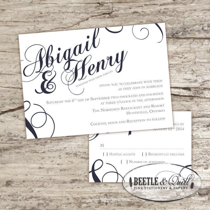Wedding - Scripted Printable Wedding Invitation Set