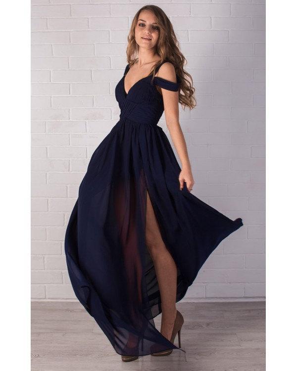 Evening Beautiful Navy Blue Dress Bridal Bustier Maxi Chiffon Prom Full Length Y Bridesmaid