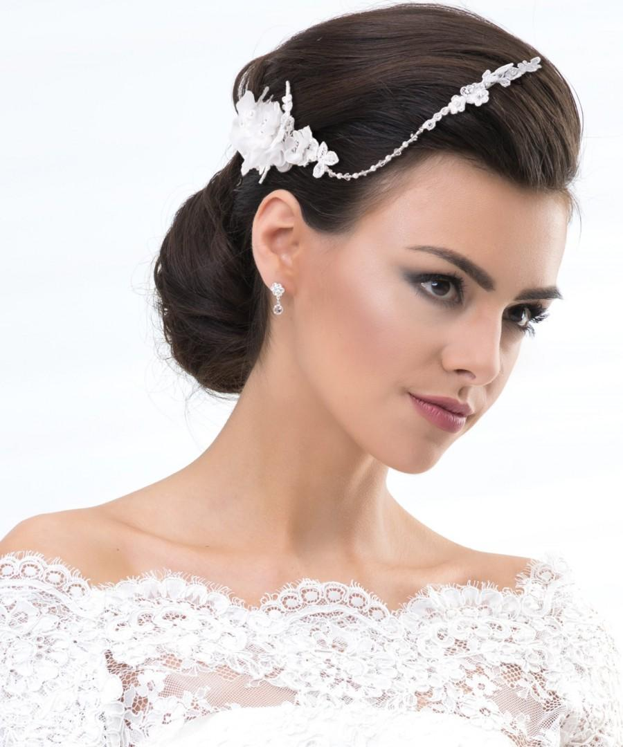 Свадьба - Athena Lace Crystal and Pearl Bridal Headpiece, Vintage Inspired Headband