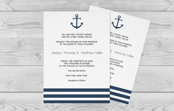 graphic relating to Printable Anchor Template named Nautical Wedding ceremony Invitation Template - 5 X 7 Armed service Anchor