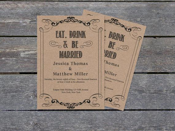 kraft paper wedding invitation template eat drink be married 5x7 rustic printable wedding. Black Bedroom Furniture Sets. Home Design Ideas