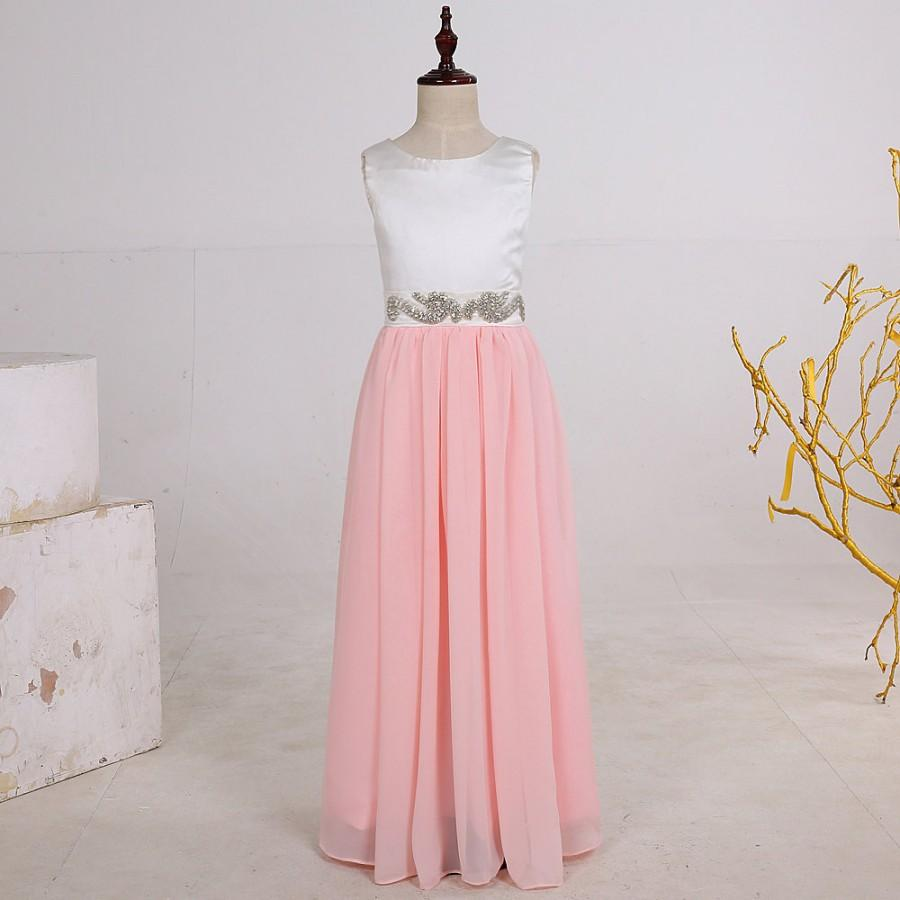 Long chiffon pink flower girl dresses junior bridesmaid for Dresses for girls wedding