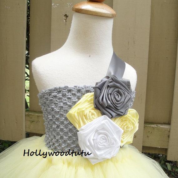 Mariage - yellow grey flower girl tutu dress
